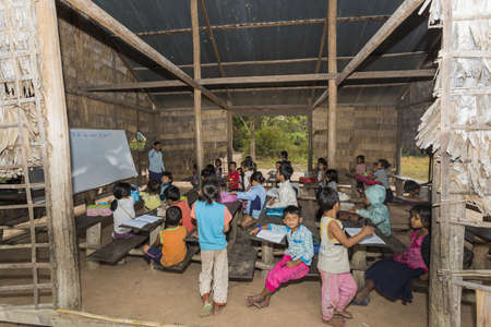Angkor Wat village, SIEM REAP province, CAMBODIA - 7 Jan 2015: A classroom at a rural primary school in a small village just outside the famous Angkor Wat Temple complex. Editorial