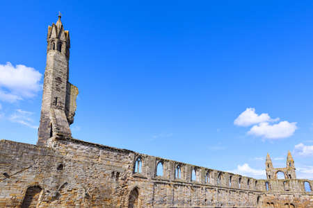 fife: St Andrews Cathedral ruins on blue sky background, Fife, Scotland. Stock Photo