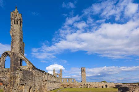 andrews: St Andrews Cathedral ruins on blue sky background, Fife, Scotland. Stock Photo