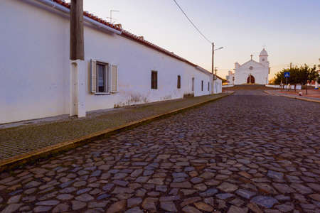 Cobbled street in Mina de Sao Domingos, Alentejo region, south of Portugal.
