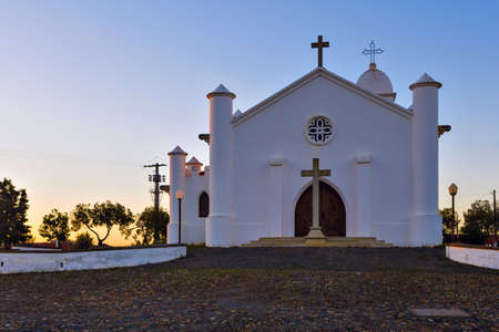 Mina de Sao Domingos christian catholic church at sunset in Alentejo region, south of Portugal.