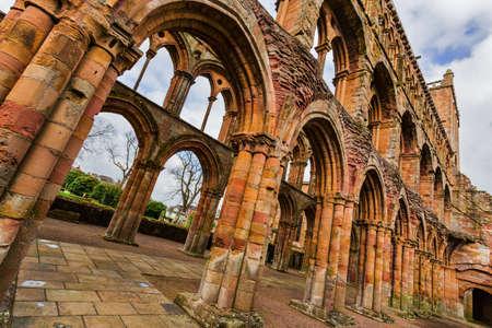 Ruins of Jedburgh Abbey in the Scottish Borders region in Scotland. Banco de Imagens