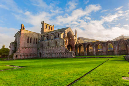 Ruins of Melrose Abbey in the Scottish Borders region in Scotland.
