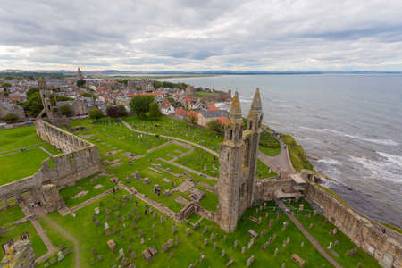 Aerial View of St Andrews Cathedral ruins. Fife, Scotland. Stock Photo