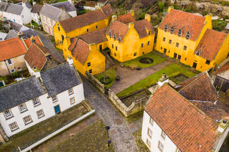 Aerial view of Culross town with its beautiful 17th century Palace, the merchants house and traditional Scottish cottages. Stock Photo