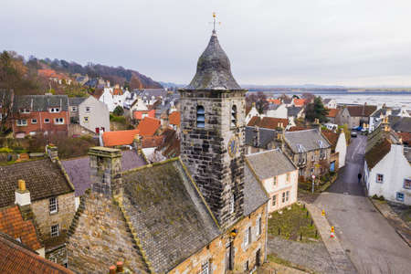 Aerial view of Culross town with it's beautiful 17th century Palace, the merchant's house and traditional Scottish cottages. Stock Photo