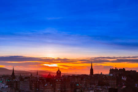 Picturesque view over evening Edinburgh old town from Calton hill, Scotland.