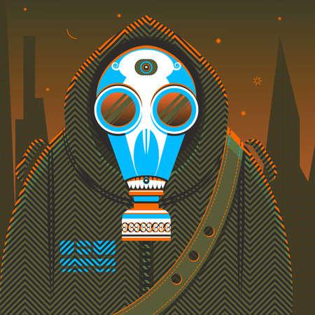The fantasy person in protective clothes with a gas mask  Vector  Vector