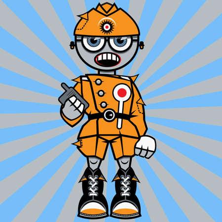portable radio: Controlador de tr�nsito a�reo con un aparato de radio port�til en un vector de mano de una persona de dibujos animados