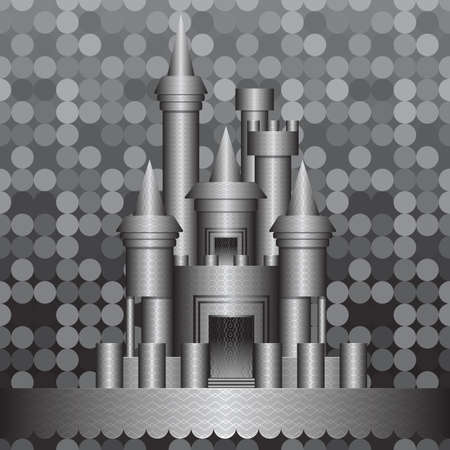 Black and white fantasy castle  Vector illustration  Illustration