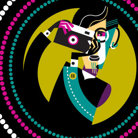 Abstract fashion photographer in action with vintage camera  Vector illustration Stock Vector - 17070089