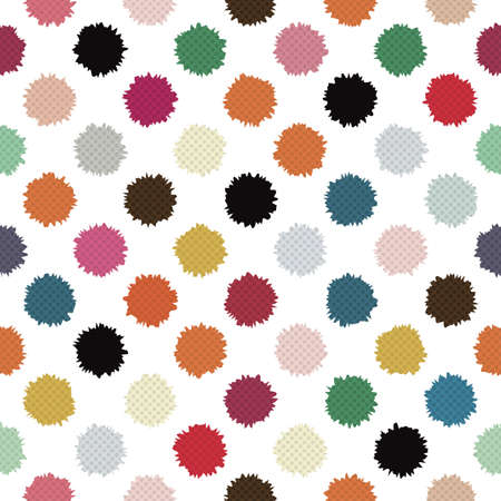 Colorful textured polka blots  Seamless pattern  Vector