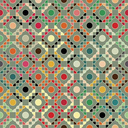 Colorful geometric grid ornament  Seamless pattern  Vector