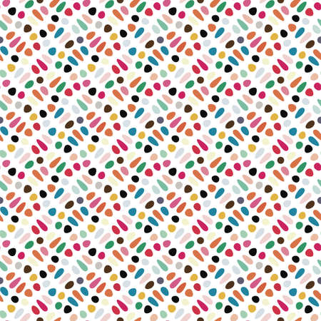 Colorful spotted and dotted print  Seamless pattern  Vector