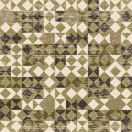 Abstract decorative geometric vintage textured background  Seamless pattern  Vector