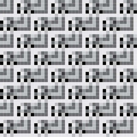 Black and white ornate pixels  Seamless pattern