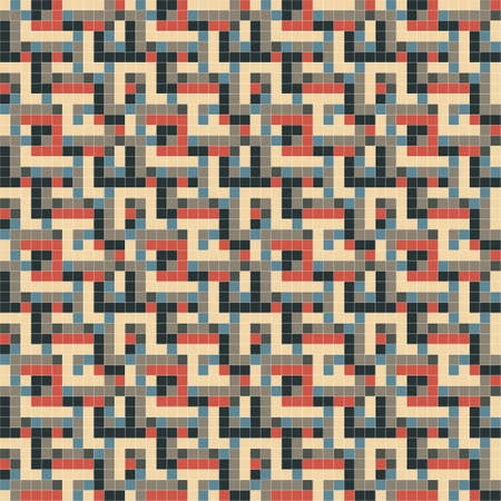 Colorful ornate pixels  Seamless pattern