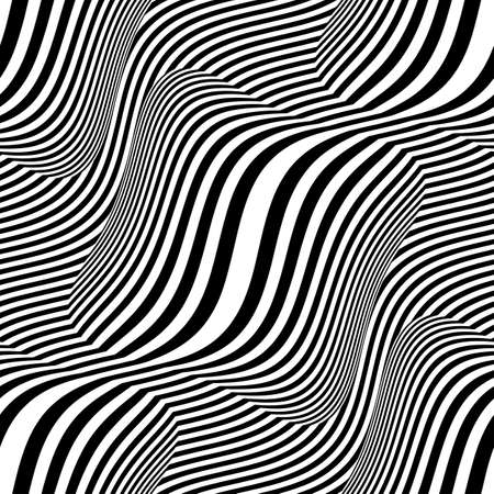 Shift stripes optical art  Seamless pattern  Vector