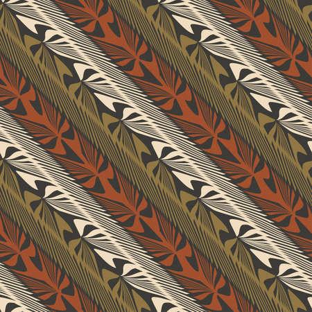 Abstract decorative jungle plants striped ornament  Seamless pattern  Illustration