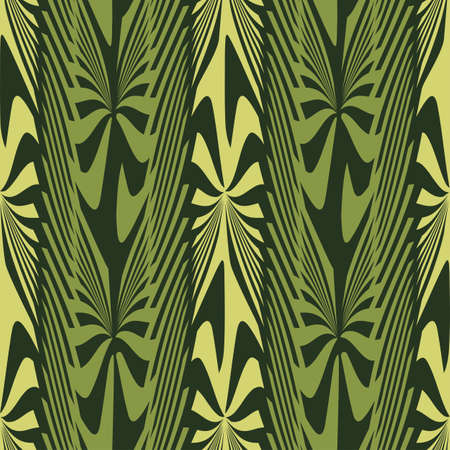 Abstract decorative jungle plants striped ornament  Seamless pattern  Illustration