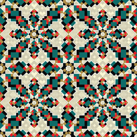 Abstract geometric floral background  Seamless pattern  Vector  Illustration