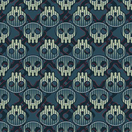Skulls  Seamless pattern  Vector  Illustration
