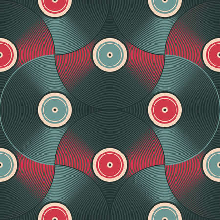 Vinyl record inspired background  Seamless pattern