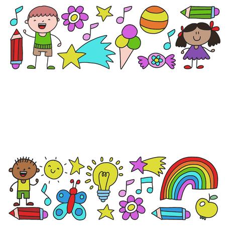 Children garden, Patern, Hand drawn children garden elements pattern, doodle illustration, Vector, illustration, Vertical
