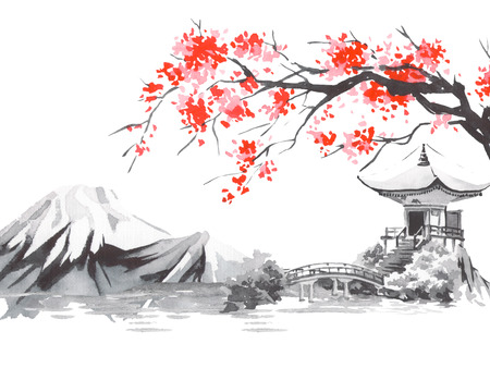 Japan traditional sumi-e painting. Fuji mountain, sakura, sunset. Japan sun. Indian ink illustration. Japanese picture.