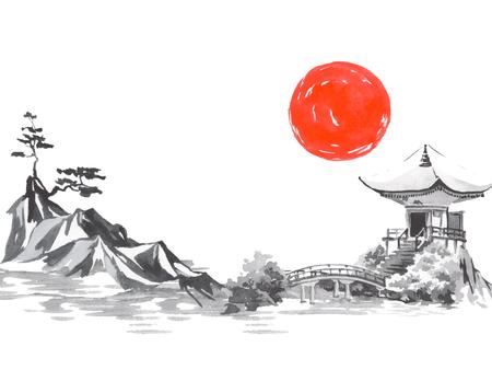 Japan traditional sumi-e painting. Fuji mountain, sakura, sunset. Japan sun. Indian ink illustration. Japanese picture.