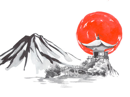 Japan traditional sumi-e painting. Fuji mountain, sakura, sunset. Japan sun. Indian ink illustration. Japanese picture. Stock Illustration - 116755720