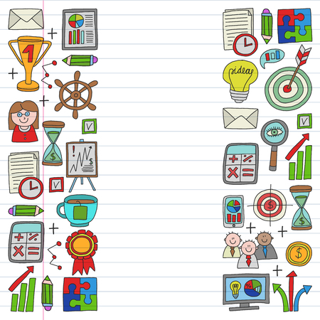 Vector set of bussines icons in doodle style. colorful on a piece of paper in line. Illustration