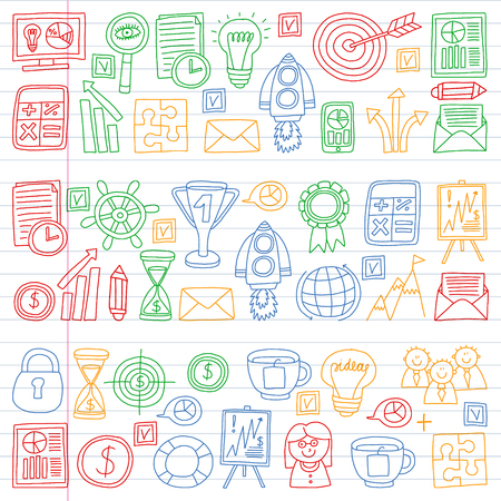 Vector set of bussines icons in doodle style. colorful gradient on a piece of paper in line.