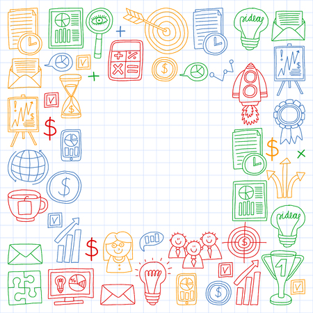 Vector set of bussines icons in doodle style. colorful on a piece of paper in cage.