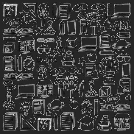 Vector set of secondary school icons in doodle style. Painted, black monochrome, chalk pictures on a blackboard.