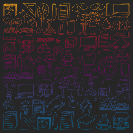 Vector set of secondary school icons in doodle style. Painted, colorful, gradient pictures on a piece blackboard.
