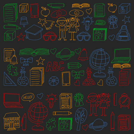 Vector set of secondary school icons in doodle style. Painted, colorful, pictures on a piece of paper on blackboard.