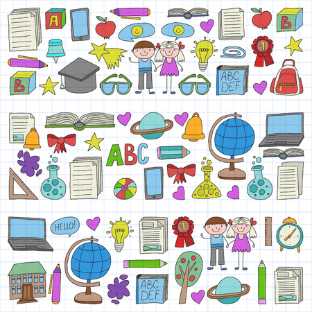 Vector set of secondary school icons in doodle style. Painted, colorful, on a sheet of checkered paper on a white background.