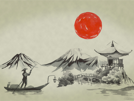 Japan traditional sumi-e painting. Watercolor and ink illustration in style sumi-e, u-sin. Fuji mountain, sakura, sunset. Japan sun. Indian ink illustration. Japanese picture. Banque d'images