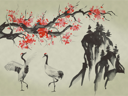 Japan traditional sumi-e painting. Watercolor and ink illustration in style sumi-e, u-sin. Fuji mountain, sakura, sunset. Japan sun. Indian ink illustration. Japanese picture. Stock Photo