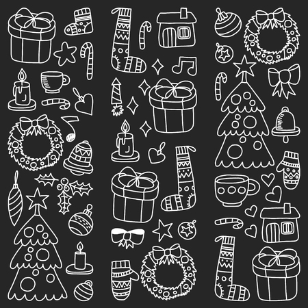 Vector set of Christmas, holiday icons in doodle style. Painted, black monochrome, chalk pictures on a blackboard.