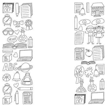 Ensemble de vecteur d'icônes de l'école secondaire dans le style doodle. Peint, monochrome noir, images sur un morceau de papier sur fond blanc.