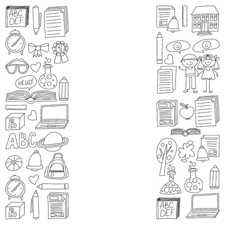 Vector set of secondary school icons in doodle style. Painted, black monochrome, pictures on a piece of paper on white background. Illustration