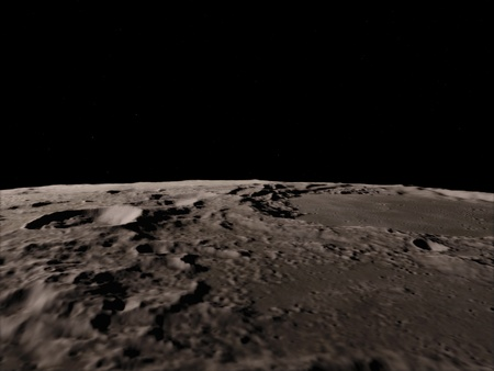 Moon in outer space, Surface. High quality, resolution, 4k