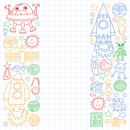 Vector set of space elements icons in doodle style. Painted, colorful, pictures on a sheet of checkered paper on a white background. Vettoriali