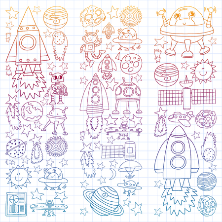 Vector set of space elements icons in doodle style. Painted, colorful, gradient, on a sheet of checkered paper on a white background.