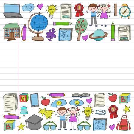 Vector set of Back to School icons in doodle style. Painted, colorful, pictures on a piece of linear paper on white background.