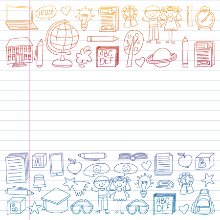 Vector set of Back to School icons in doodle style. Painted, colorful, gradient on a piece of linear paper on white background.