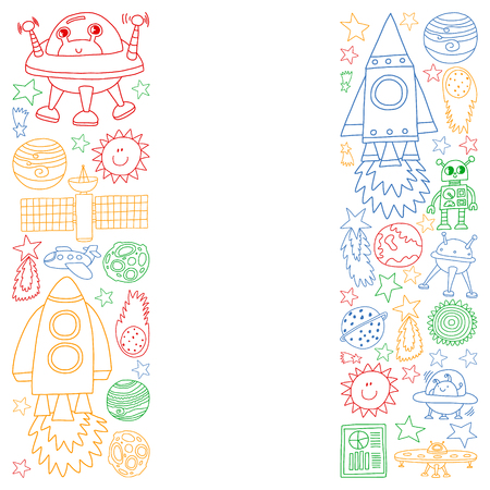 Vector set of space elements icons in doodle style. Painted, colorful, pictures on a piece of paper on white background. Иллюстрация