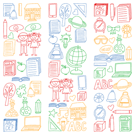 Vector set of Back to School icons in doodle style. Painted, colorful, pictures on a piece of paper on white background.